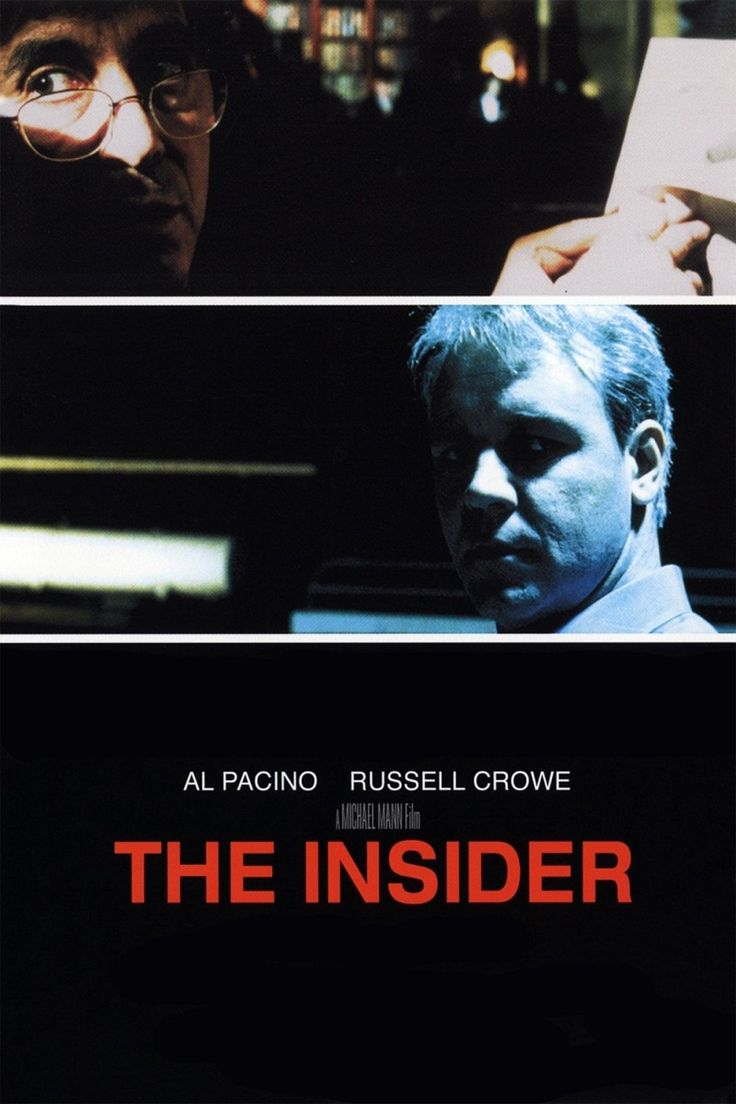 "The Insider (1999) -- Russell Crowe, Al Pacino,  Christopher Plummer, Bruce McGill -- A research chemist comes under personal and professional attack when he decides to appear in a ""60 Minutes"" expose on Big Tobacco."