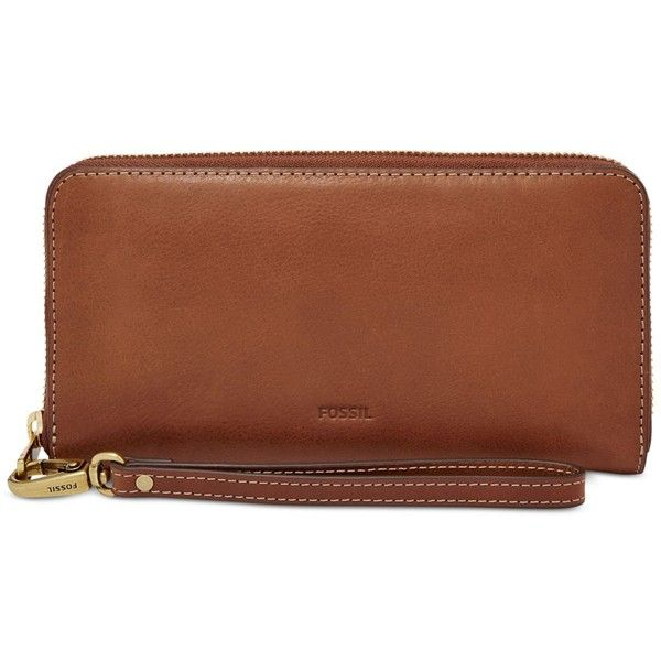 Fossil Emma Leather Large Zip Clutch Wallet (24.240 HUF) ❤ liked on Polyvore featuring bags, wallets, brown, brown leather wristlet, wristlet wallet, fossil wristlet, brown bag and brown leather wallet