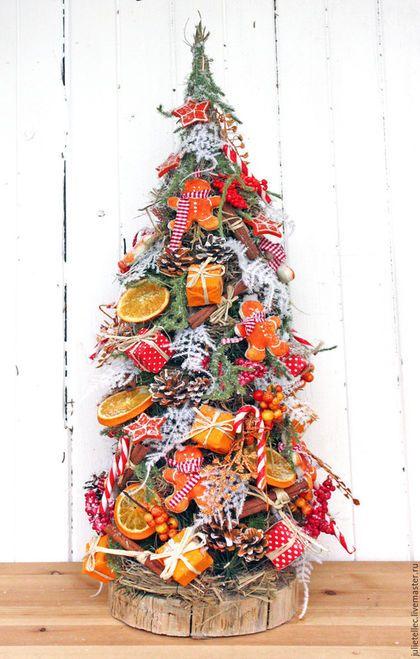 Новый год 2016 ручной работы. Ярмарка Мастеров - ручная работа. Купить Настольная елочка из детства. Handmade. Оранжевый, пряничный человечек