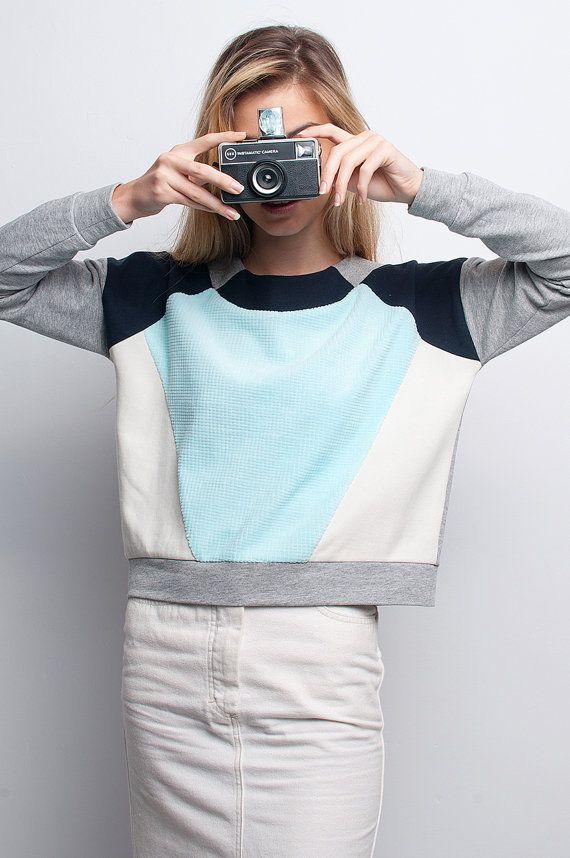 Mint and grey geometric avantgarde sweatshirt by WilderShores