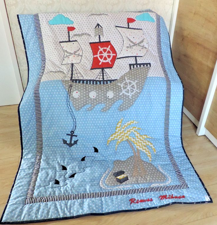 Your boy will adore this Modern Nautical Personalised Quilt or Modern Pirates Quilt and Decorative Pillow It is a funny, modern and colourful Patchwork Boy Quilt for your little boy. Order here: https://www.etsy.com/listing/471748588/personalised-gift-for-boy-boy-nautical?ref=shop_home_active_13