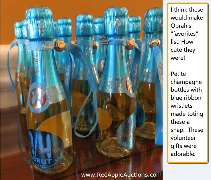 Benefit auction volunteer gifts took the form of champagne at this benefit auction volunteer gifts took the form of champagne at this event mini champagnes with cute wristlets in tiffany blue auctiongi pinteres negle Choice Image