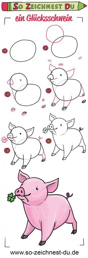 So zeichnest du ein Glücksschwein zu Silvester