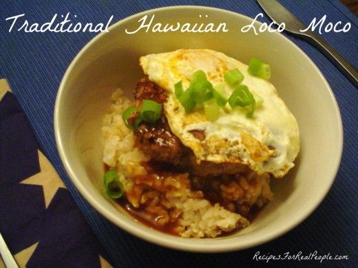 February is Hot Breakfast Month. Try loco moco! If you've been to Hawaii, you may have eaten something called loco moco, a crazy dish that's served mainly for breakfast, but we like it anytime. It's easy to make and  quick using planned leftovers.
