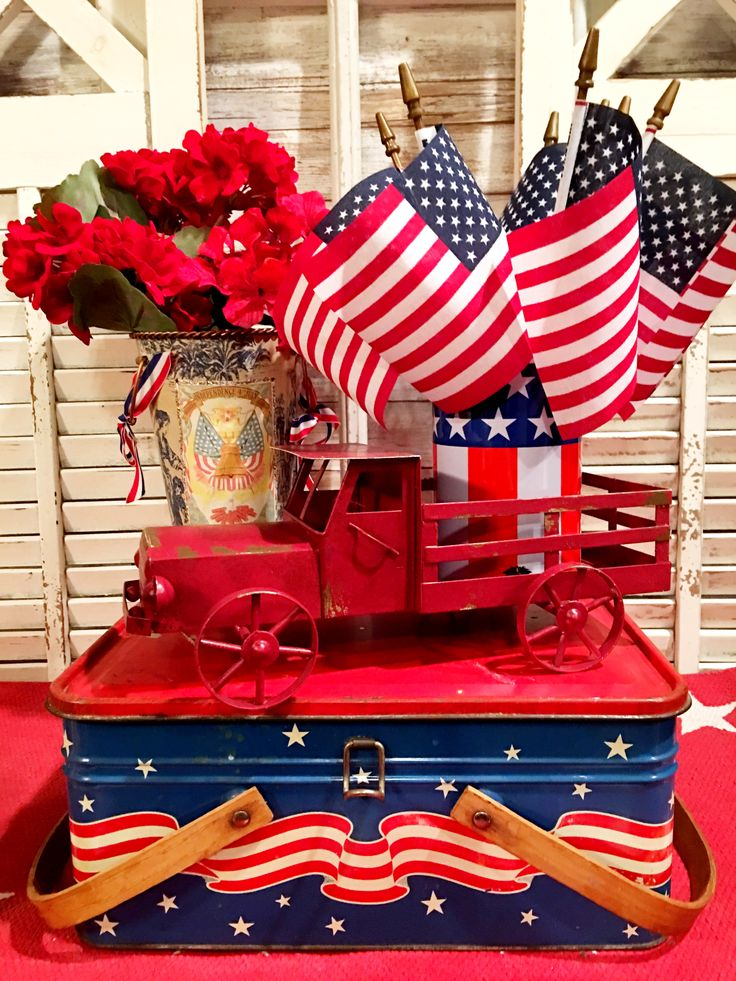 Vintage patriotic decor for 4th of July