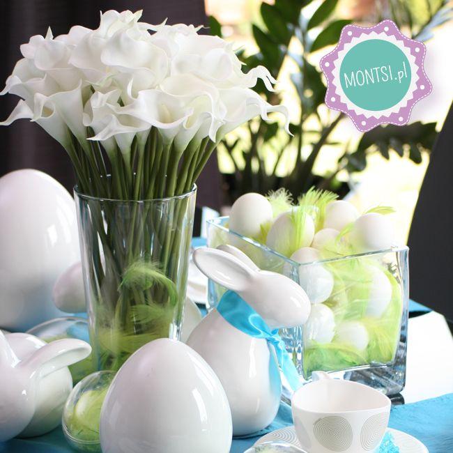 Wielkanocne dekoracje - jajka i zajączki z ceramiki, piękne kwiaty oraz dużo wydmuszkowych jaj www.montsi.pl Easter table decoration - bunny, eggs, flowers