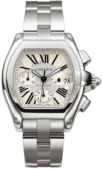 W62019X6  NEW CARTIER ROADSTER MENS XL STEEL WATCH    Usually ships within 3 months - Click to view IN STOCK Luxury Watch Specials  - FREE Overnight Shipping - NO SALES TAX (Outside California)- WITH MANUFACTURER SERIAL NUMBERS- Roman Numeral Silver Sunray Dial- Chronograph Feature- Self Winding Automatic Movement- 3 Year Warranty- Guaranteed Authentic  - Certificate of Authenticity- Manufacturer Box