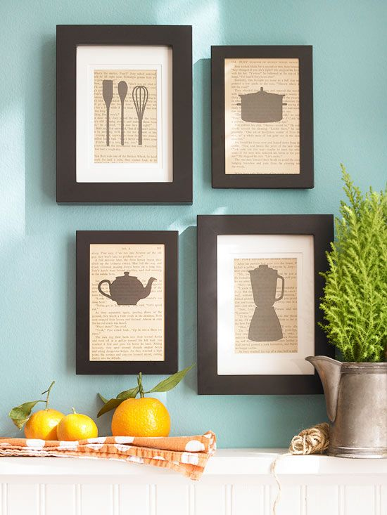 To put a culinary-inspired twist on the classic silhouette, use cutouts of cooking utensils and appliances as the subject matter for kitchen wall decor. These cutouts are backed with photocopied pages from an old cookbook, allowing them to blend easily with the kitchen's country style. The pieces stand out against the wall with crisp black frames in varying widths and are arranged in a neat, balanced composition.