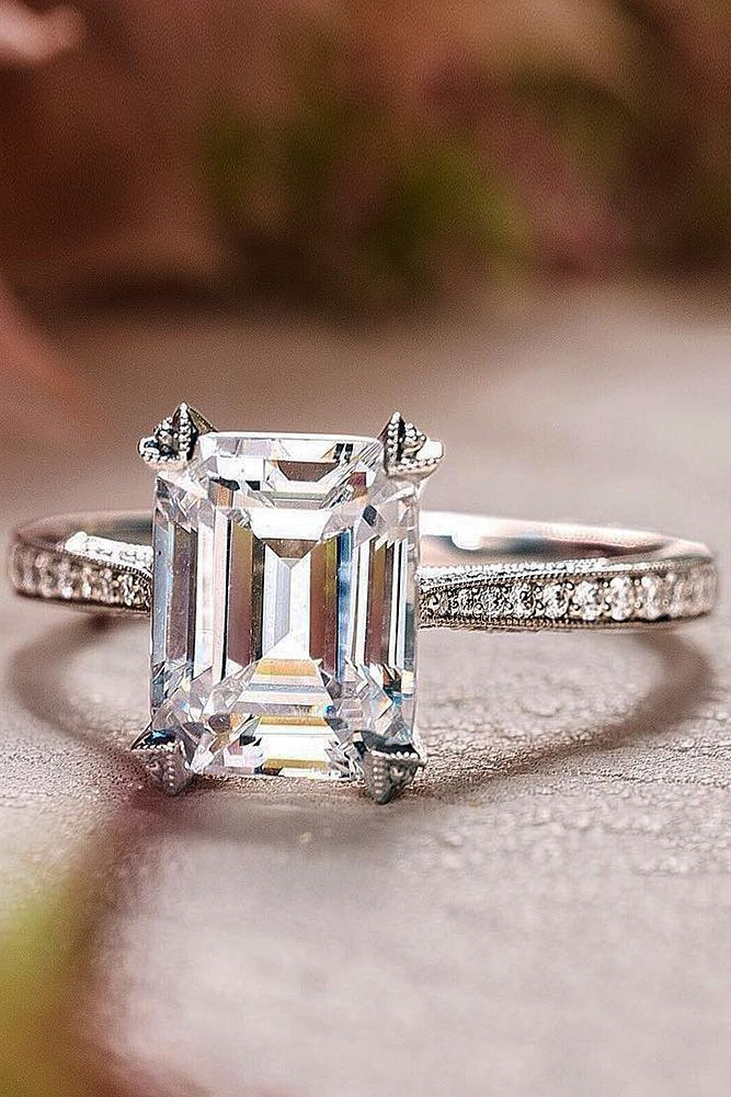 Solitaire Ring Engagement Cut Diamond Band Pave Designers Emerald 8N0mnw