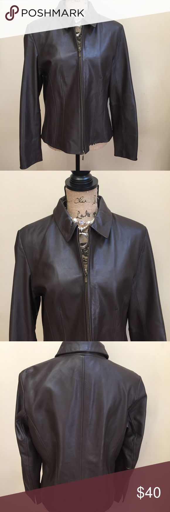 Coldwater Creek Leather Jacket Gorgeous leather jacket, has a discolored area and a slight scratch, see pics, the discoloration can probably be repaired easily, jacket is lined and in great condition other than the 2 area Coldwater Creek Jackets & Coats Blazers