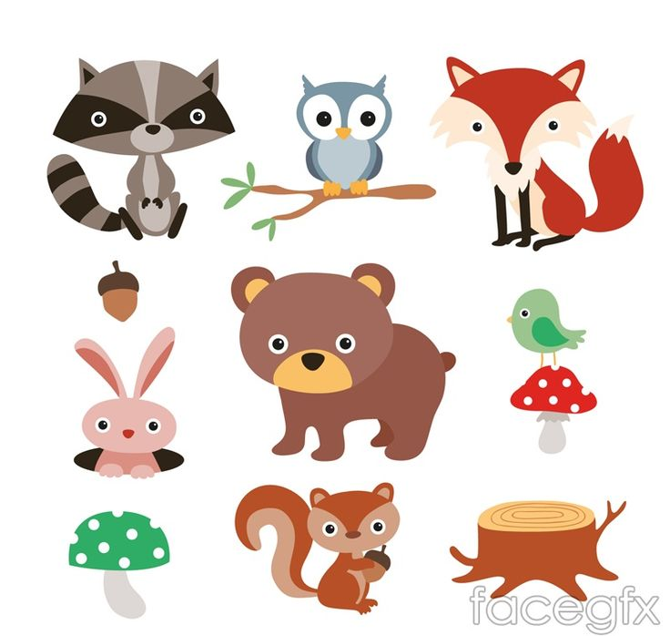 9 forest cartoon animals vector