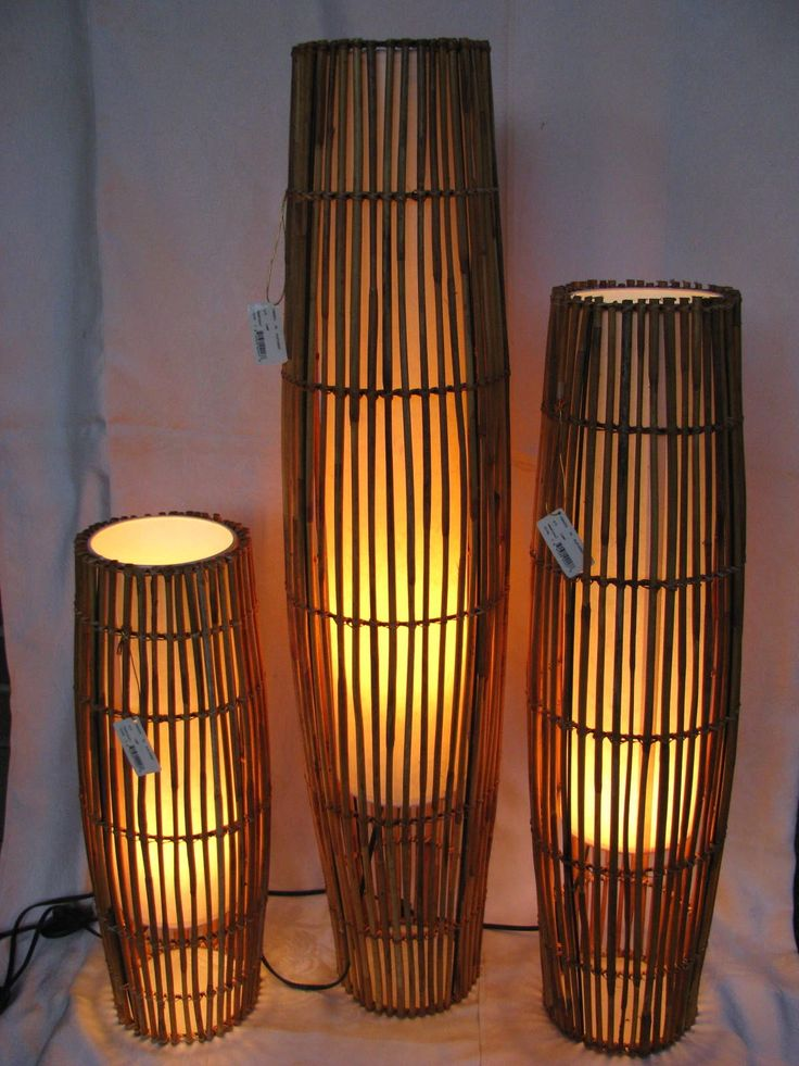 "3 Vintage Rattan 41 32 23"" Floor Table Lamp Set Cylinder Shade Beach Tropical 
