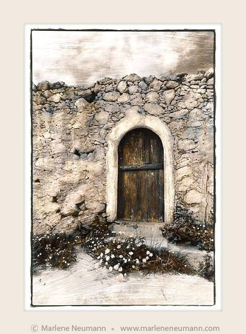 ARCHED DOOR...a doorway is a symbol of new beginnings..Arched door for me has a soft angelic feeling. Anticipating a gentle embrace on the other side of the wall..Each day has its own set of challenges..the lesson to learn is not how we react but how we respond..there is a difference. The choice is always ours...Love Marlene
