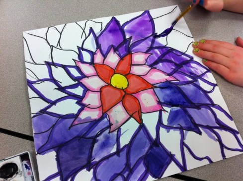 Beautiful watercolor flower painting.  Great lesson ideas for 4th - 5th grade.