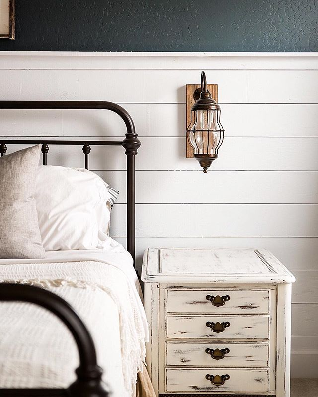 Shiplap Distressed Bedside Table Iron Bed Frames White Bedding Love All Of It Iron Bed Frame Farmhouse Bedroom Decor White Iron Beds