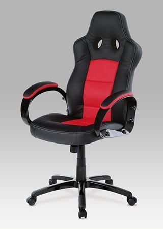 KA-E280B RED Kancelářská židle, PU černo-červená, plyn.píst, houpací mechanismus, nosnost 100 kg.