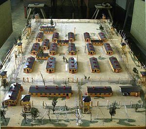 """From wikipedia. """"Model of the set used to film the movie The Great Escape. It depicts a smaller version of a single compound in Stalag Luft III. The model is now at the museum near where the prison camp was located."""""""