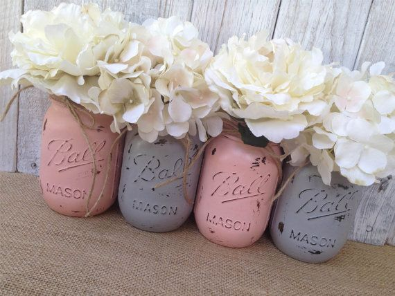 Pint Mason JarsGrey and Blush PinkPainted by LacyBellesBoutique, $21.00