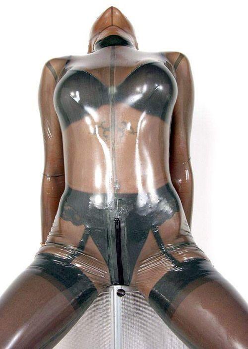 Plastic bondage and strict suspension of submissive elise gr 3