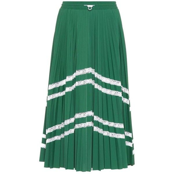 Valentino Lace-Trimmed Midi Skirt (45.164.050 VND) ❤ liked on Polyvore featuring skirts, green, mid-calf skirts, midi skirt, green skirt, lace trim skirt and green midi skirt