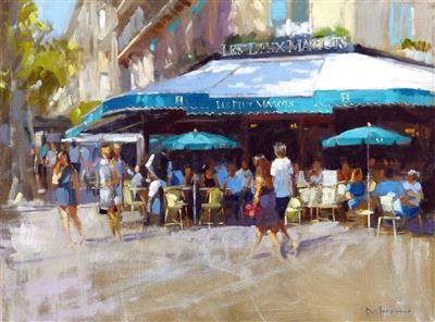 """Les Deux Magots, St Germain, Paris 18"""" x 24"""" Oil on Canvas JACK MORROCCO"""