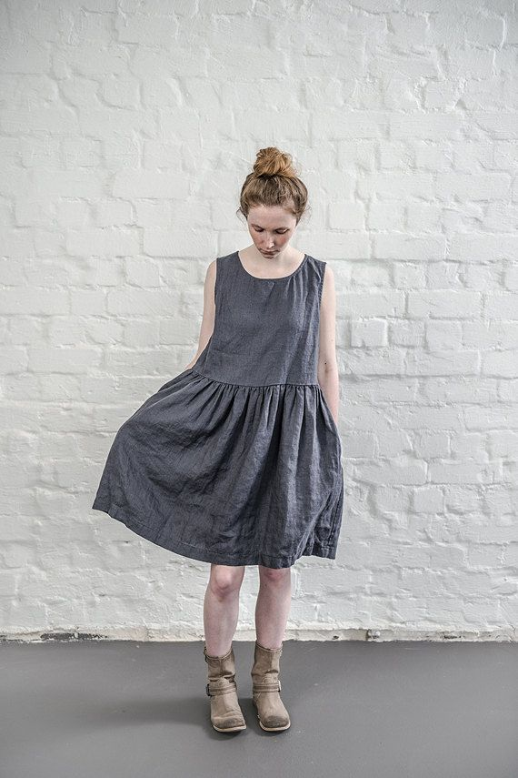 Linen dress. Charcoal / warm black linen loose fitting dress