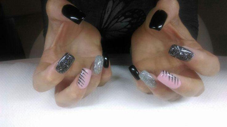 Nero glitter argento rosa