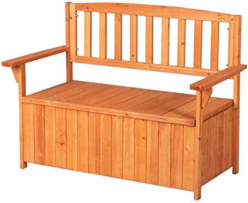 Wooden Garden Bench with Storage Chest Trunk and Cushion Outdoor 2 Seater Bench