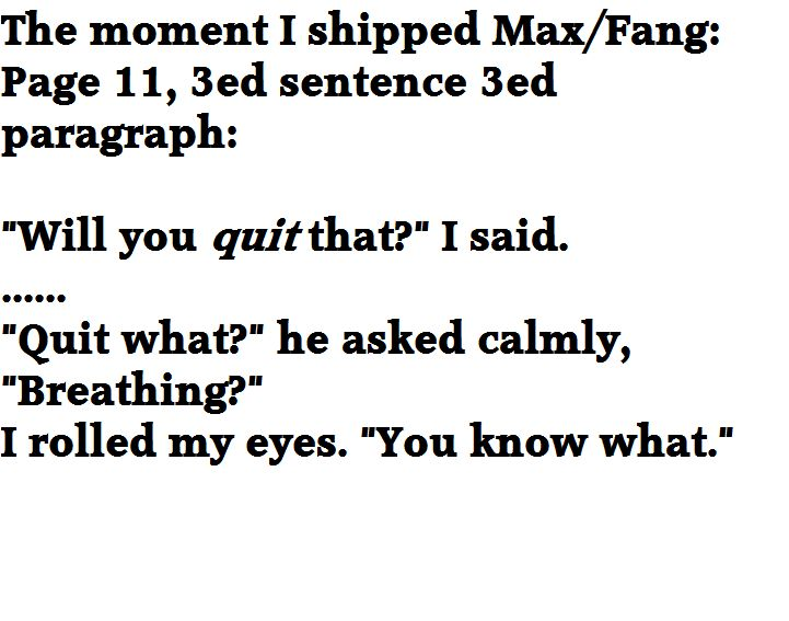 The moment I shipped Max/Fang. Maximum Ride: The Angel Experiment. #maximumride #fang #fax #maximumridetheangelexperiment