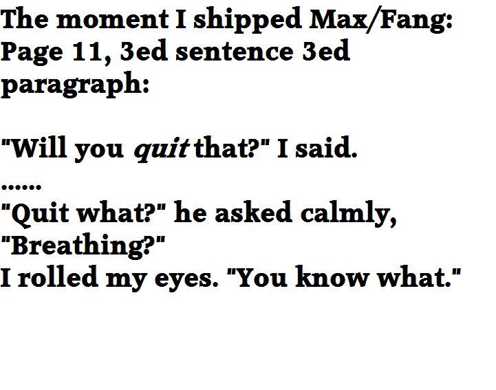 The moment I shipped Max/Fang. Maximum Ride: The Angel Experiment. #maximumride…