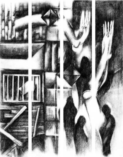 THE SOUNDS OF HUMAN LIFE REVIVED - Atelier Rambling Powder #artprint, #black and white, #edgar allan poe,  #caspar david friedrich, #romanticism, #expressionism, #drawing, #abstract, #architecture, #illustration, #space, #the wall, #rambling powder, #poster, #artwork, #pencil drawing,  #illustration art, #bookmark, #crowd
