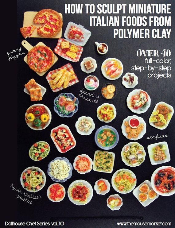 Learn how to sculpt realistic, polymer clay miniature Italian foods with this 180-page, full-color tutorial book, packed with step-by-step