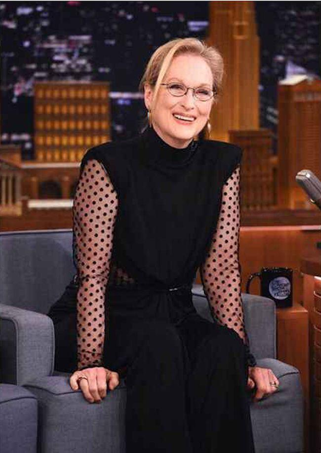 Meryl Streep luciendo transparencias en el programa de Jimmy Fallon, ¿te lo vas a perder?