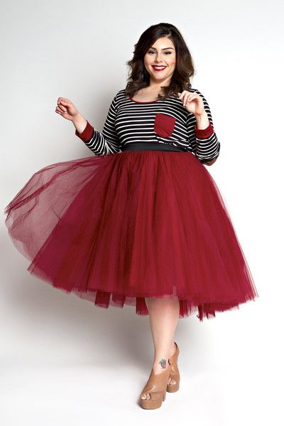 Plus Size Clothing for Women - Loey Lane High/Low Premium Tutu - Burgundy (Sizes 1X - 6X) - Society+ - Society Plus - Buy Online Now!