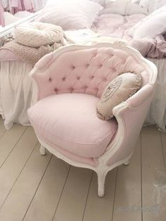 Love this chair. Such a great pale pink!
