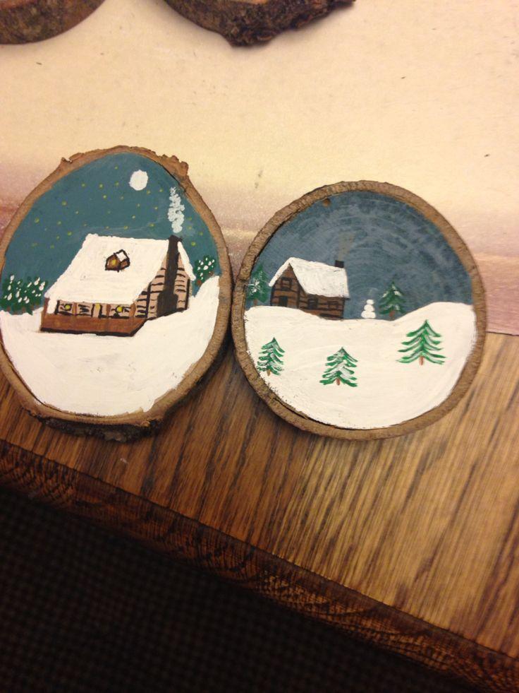 Winter cabin wood slice ornaments