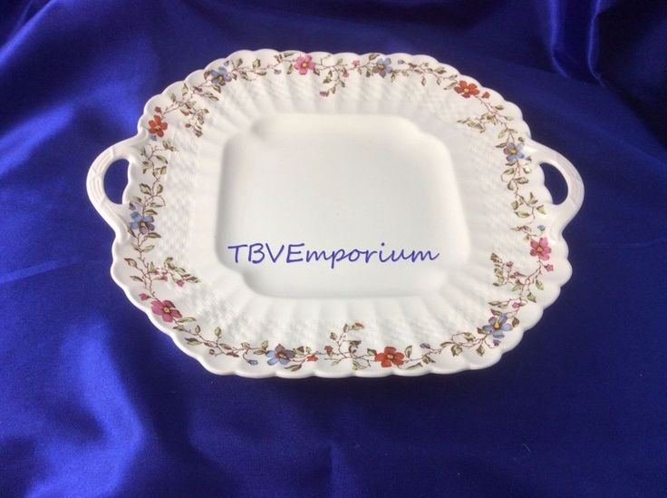"Copeland Spode Wicker Dale 11"" Square Handled Cake Plate White and Floral #CopelandSpode"