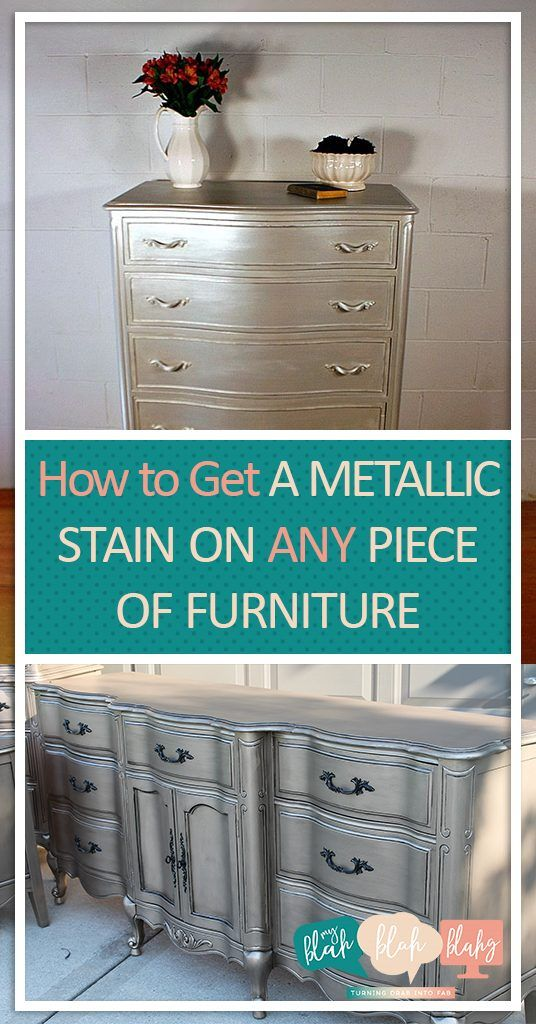 How to Get A Metallic Stain on ANY Piece of Furniture  Metallic Paint Stain, Painting Projects, Painting DIY, DIY Painting Projects, Metallic Furniture #PaintingProjects #PaintingDIY #FurnitureProjects