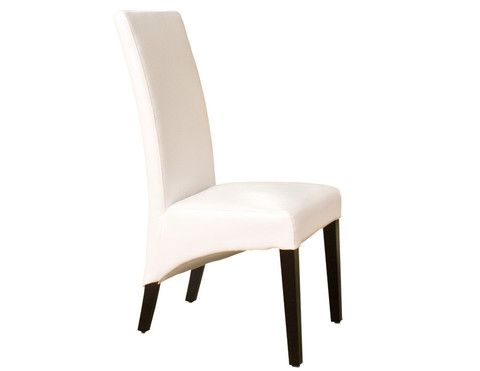 The Caprice Chair uses bonded leather and wood in this simple, transitional design. With its tall curved back, thick seat cushion and curved design below the seat, this chair is comfortable and unique.     Available in Black  and White leather