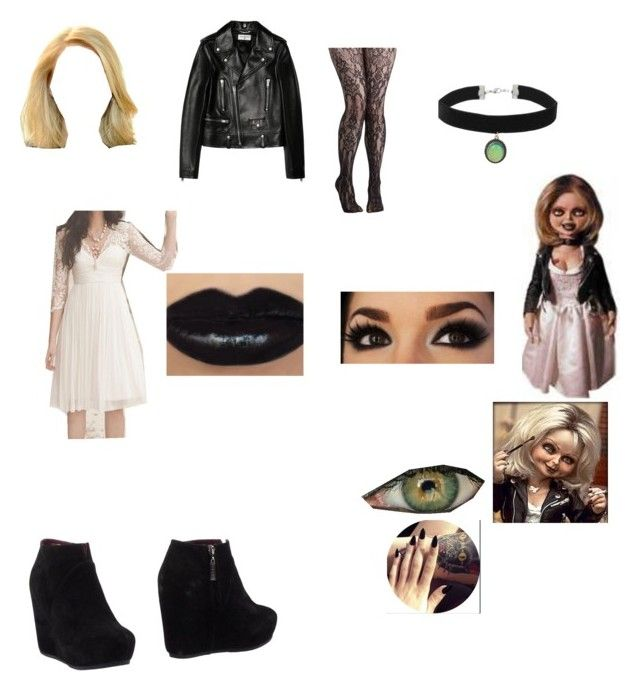 """Tiffany look (Bride Of Chucky)"" by cutipievaness on Polyvore featuring Tiffany & Co., Yves Saint Laurent, Logan and Topshop"