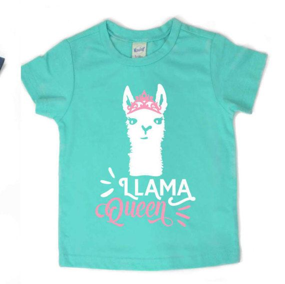 Llama Queen shirt, llama shirt for girls  All designs will be in WHITE and PINK. check out more great shirts at https://www.etsy.com/shop/shophartandsoul   ~~~~~~~~~~~~~~~~~~~~ Fit information ~~~~~~~~~~~~~~~~~~ This shirt fits true to size. Please see last picture for size chart. If you are unsure what size to order we recommend grabbing a shirt that currently fits well and measuring the width (armpit to armpit) and length (top of shoulder to bottom hem) and then comparin...