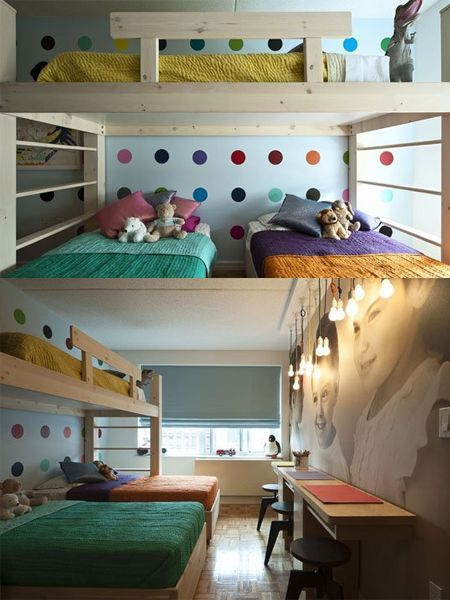 Children S And Kids Room Ideas Designs Inspiration: 3 Children Bunk Beds In Small Bedroom