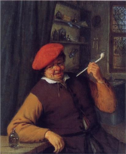Adriaen van Ostade : A Peasant in a Red Beret Smoking a Pipe, 1646.