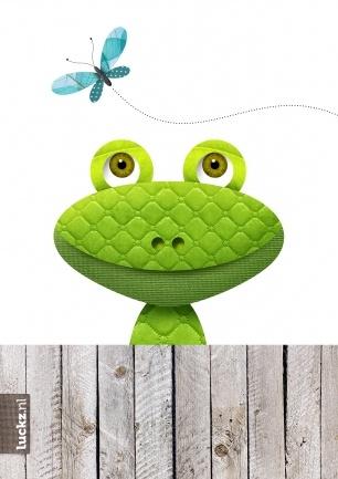 Vrolijke groene kikker met vlinder (© Luckz)