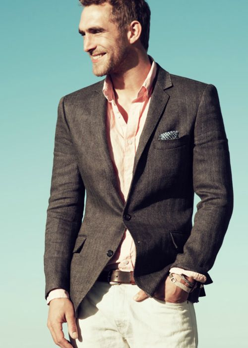 JCrew - the colours, what he is wearing on his wrist, the pocket square ....