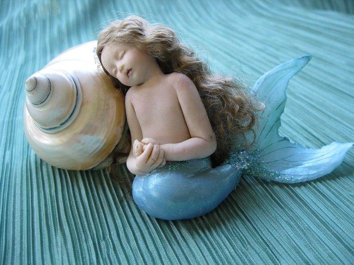 Isleen: OOAK polymer clay mermaid / fairy art doll by Vanessa Witschi