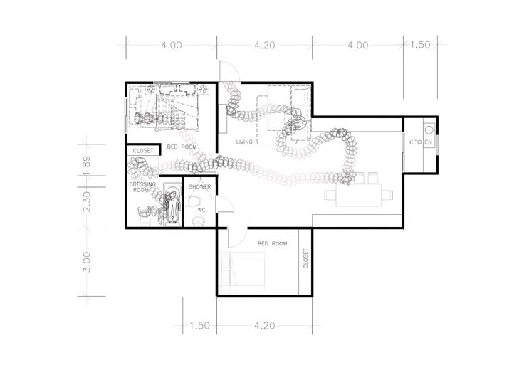Pintusorn Chantranuwat (Pin) 5634782725 Taxonomy of Physical Interaction with Furniture This plan shows the top view of my apartment where the sequence of a person walking in represent her interaction between the body and furniture used. The darker colour represents the body when her reaction is changed once interacted with a house fittings.