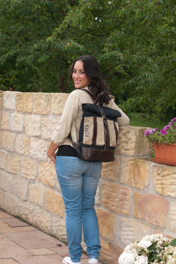 Sunsa Damen Herren Vintage Tasche Rucksack Packpack Schultertasche Schultasche Schulrucksack schwarz Retro Canvas Canvastasche Leder Ledertasche