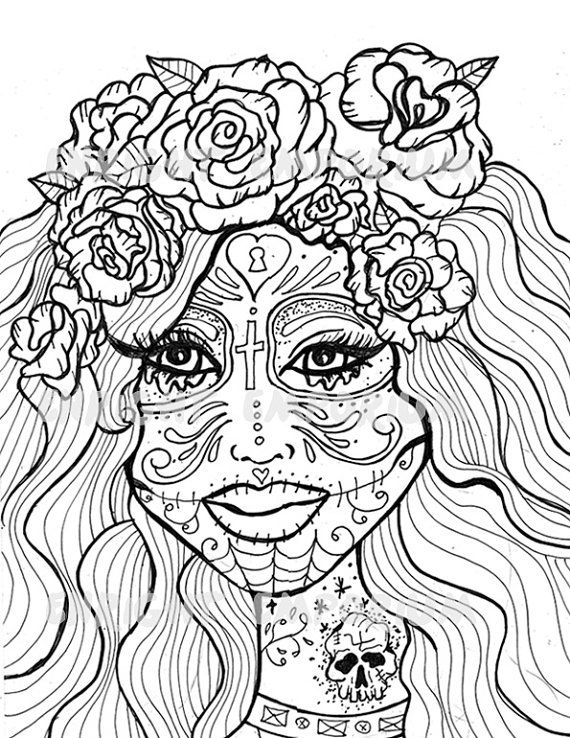 234 best Sugar Skulls  Day of the Dead Coloring Pages for Adults