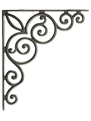 "Decorative Vines Cast Iron Shelf Bracket - 10 1/8"" x 11 3/4"" 